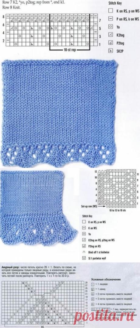 Схемы вязания каймы спицами | Узоры спицами