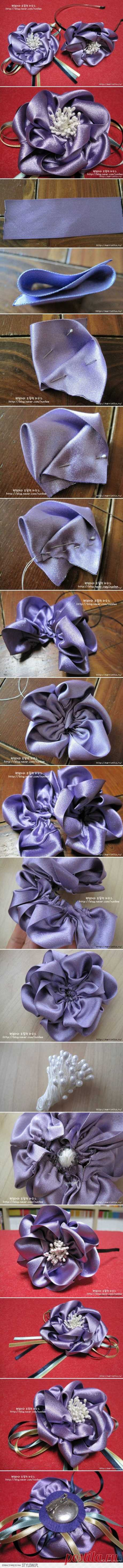 DIY Satin Ribbon Flower Brooch DIY Projects | UsefulDIY… na Stylowi.pl