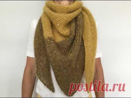 Двухцветный шейный платок Бактус. Работа над ошибками.Two-tone simple shawl.