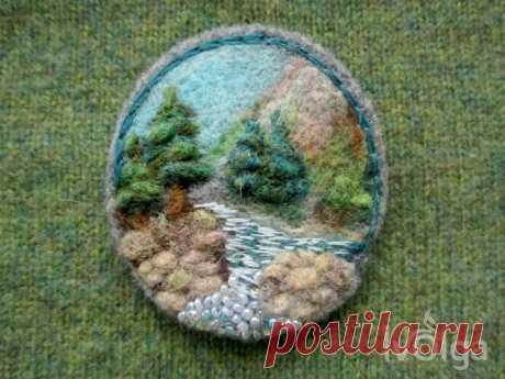 Needle Felt Brooch Landscape Nature Felted Wildlife Kingdom   Etsy