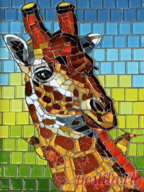 Giraffe Glass Mosaic by Cynthie Fisher Giraffe Glass Mosaic Painting by Cynthie Fisher