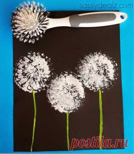 Onderwijs en zo voort ........: 0563. Bloemen schilderen met een afwasborstel.