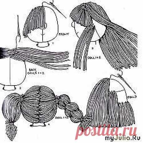 Ещё варианты крепления волос для куклы.