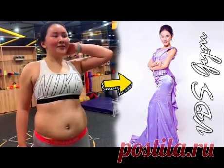 Тренировка дома с девушкой, успешно похудевшей