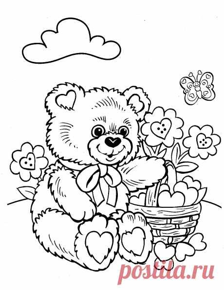 Медвежонок на цветочной полянке