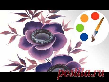 Painting a beautiful anemone, One stroke, irishkalia