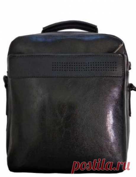 Сумка мужская Э3 на плечо черная экокожа в интернет-магазине Ollbag.ru