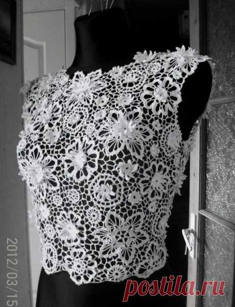 Irish crochet lace blouse, dress top