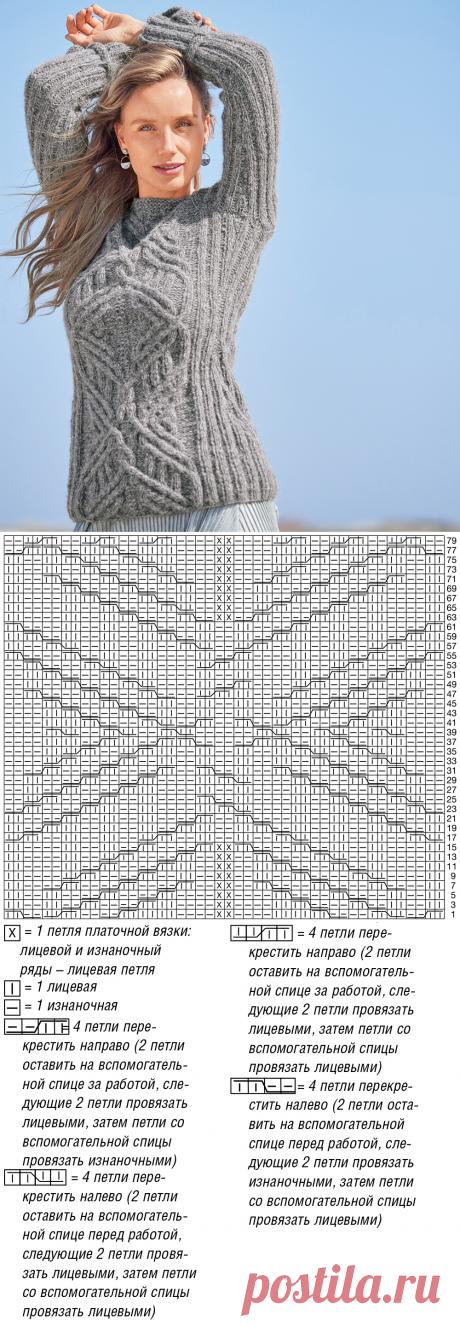 Серый джемпер с рельефными узорами