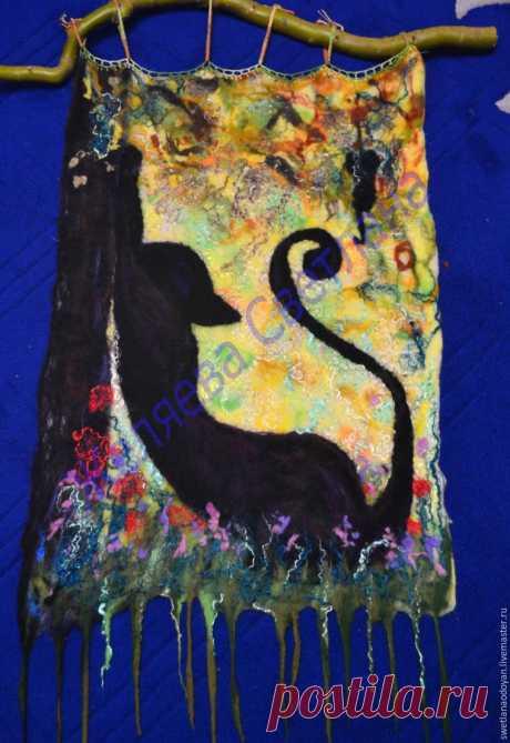 Создаем картину «Чёрная грация» из шерсти в технике мокрого валяния - Ярмарка Мастеров - ручная работа, handmade
