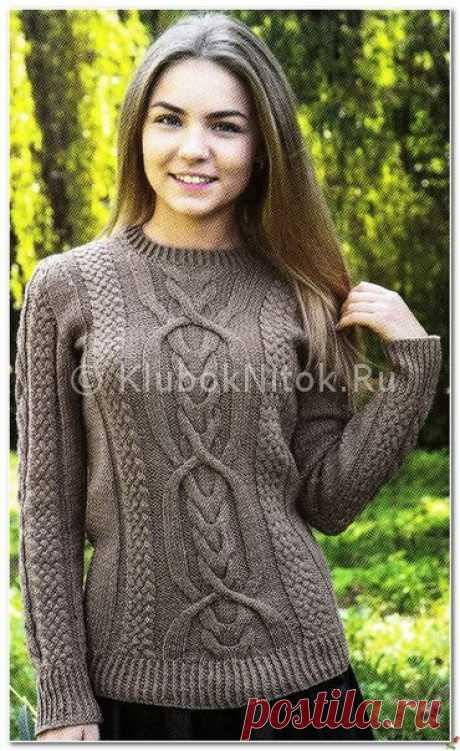 Коричневый пуловер с аранами   Вязание для женщин   Вязание спицами и крючком. Схемы вязания.