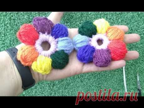Knitting by a hook for beginners simple tsvetochov\/crochet flovers | KNITTED FLOWERS