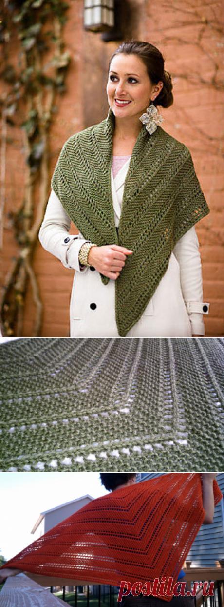 Просто и красиво: шаль-косынка спицами | Дневник Иримед