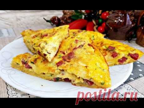 ЗАВТРАК за 10 минут! яйца - 3 шт. соль - по вкусу молоко - 60 мл. лаваш - 100 гр. сыр - 120 гр. колбаса - 100 гр. (по вкусу) зелень - по вкусу
