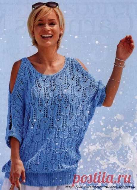 Пуловер с открытыми плечами спицами — HandMade