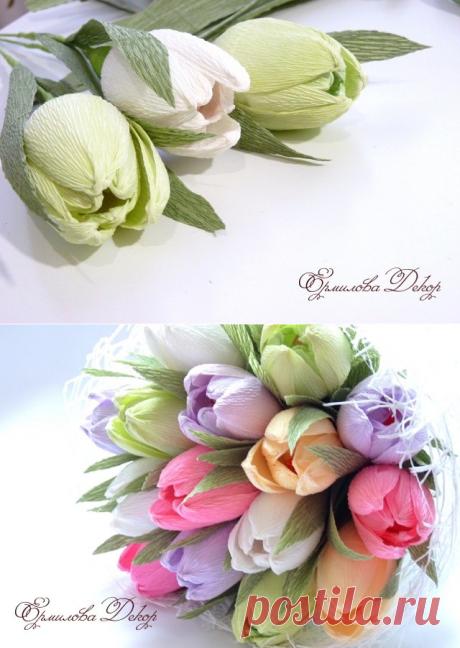 Тюльпаны из гофрированной бумаги.Букет из конфет.Мастер класс