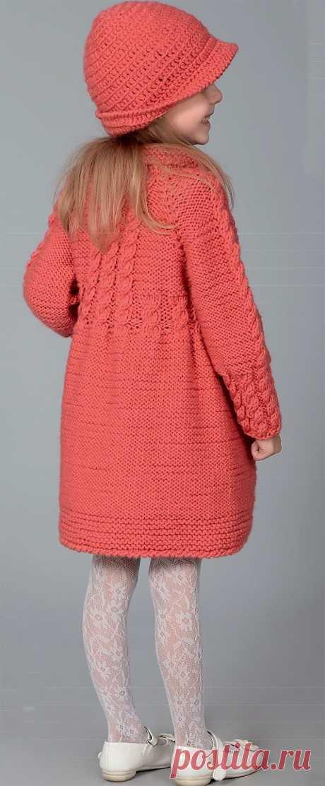 Детское пальто спицами и панама крючком для девочек 6-8 лет - Портал рукоделия и моды