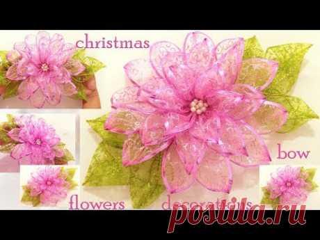 Como hacer fácil moños flores decoraciones adornos de Navidad\/DIY chritsmas ideas