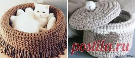 Вязание из трикотажной пряжи крючком. Трикотажное вязание корзинок и других предметов