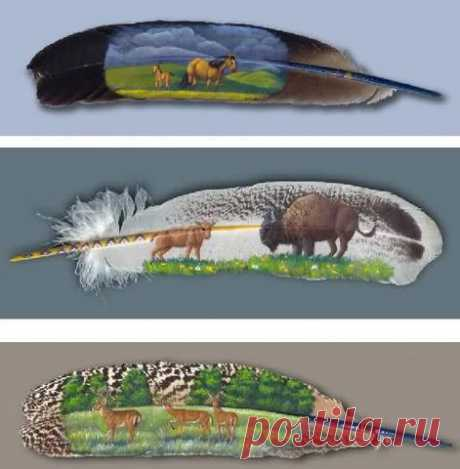 Роспись перьев от Яны Дайви