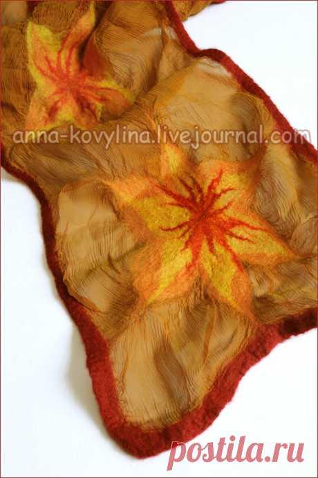 ФОТО Мастер-класс по валянию нуно-войлочного шарфа на тонком шёлке. - Ярмарка Мастеров - ручная работа, handmade