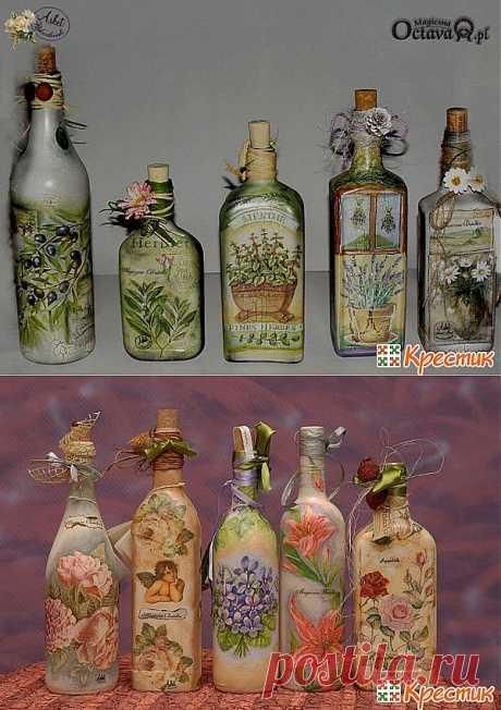 Декупаж бутылок: мастер класс от А до Я