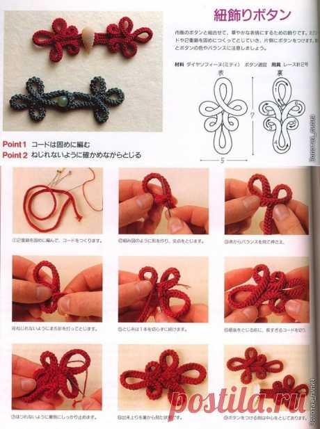 Как сделать китайскую петельку для одежды.