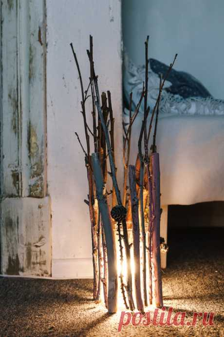 Поделки из веток деревьев своими руками: светильник из веток в мастер-классе с фото | Houzz Россия