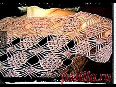 летняя женская кофточка, вязание крючком - полная версия(  рисунок паучки )