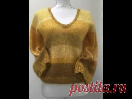Мохеровый свитерок из остатков пряжи. Simple knit sweater