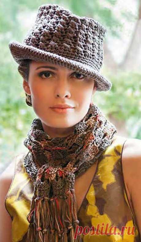 """Вязаный шарфик и шляпка крючком » Сайт """"Ручками"""" - делаем вещи своими руками"""