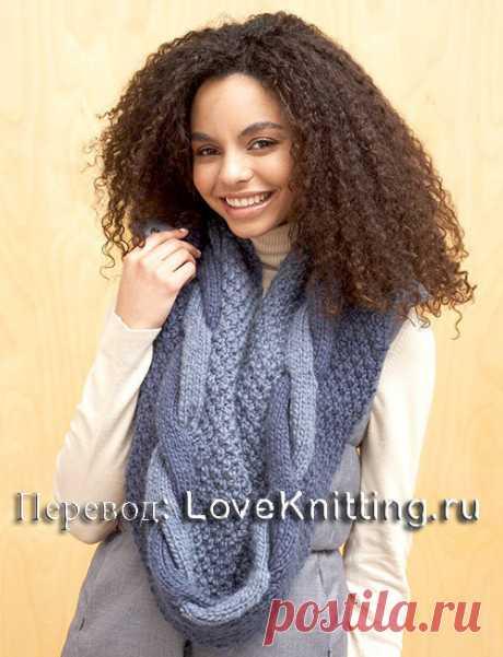 Вязание спицами - Шарф спицами с косой и крупным жемчужным узором