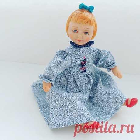У меня родилась мини куколка, такая карманная девочка, ростом 16 см. Одежда снимается, несъёмную одежду почему-то не люблю. #куклыручнойработы #миникукла #карманнаякукла #куклыольгидильман #куклыизполимернойглины