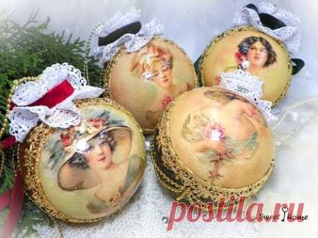 """Декупаж елочных новогодних шаров """"Богемия"""". Decoupage christmas balls"""