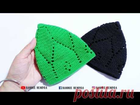 Crochet    Tutorial Peci/ Kopiah Rajut Motif Ke-2    Kufi Hat [Subtitles Available]