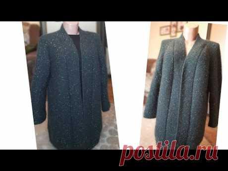 Кардиган платочною вязкою , великого розміру. Підрізи,виточки,рукави.