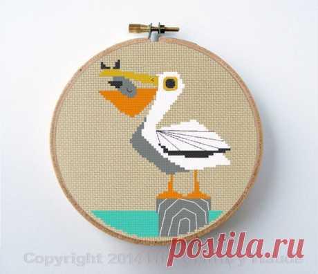 Pelican cross stitch pattern mid century modern PDF inspired   Etsy
