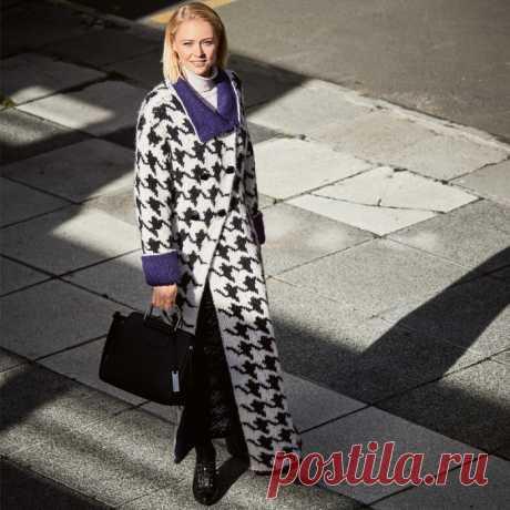 Шикарное пальто с узором «гусиные лапки»
