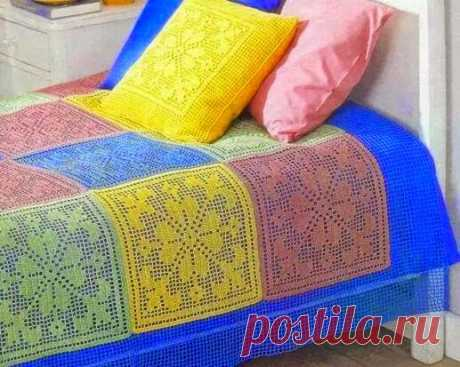 Knitting models with schemes and descriptions: Beautiful bed set hook