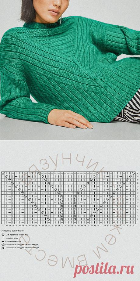 Джемперы с «треугольной» кокеткой и мои схемы | Вязунчик — вяжем вместе | Яндекс Дзен