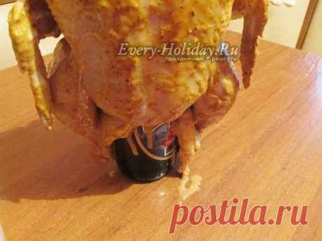 Курица на бутылке в духовке, рецепт с фото