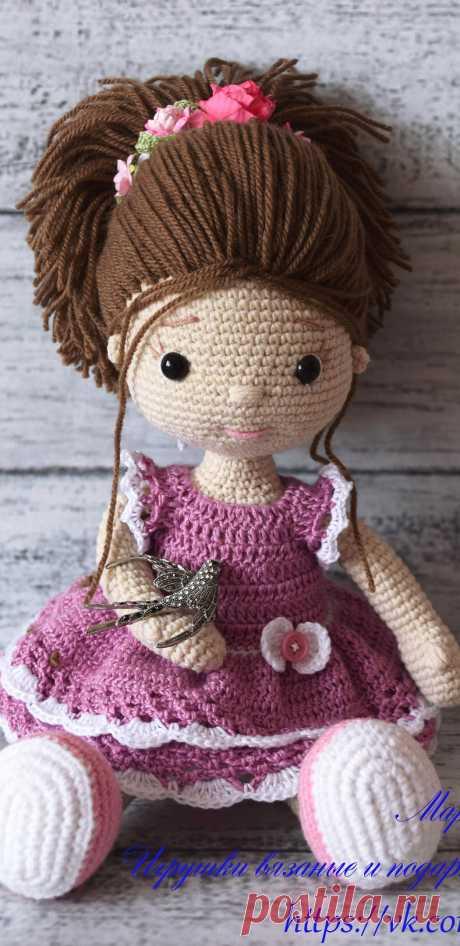 PDF Куколка Маруся крючком. FREE crochet pattern; Аmigurumi doll patterns. Амигуруми схемы и описания на русском. Вязаные игрушки и поделки своими руками #amimore - большая кукла, куколка в платье.