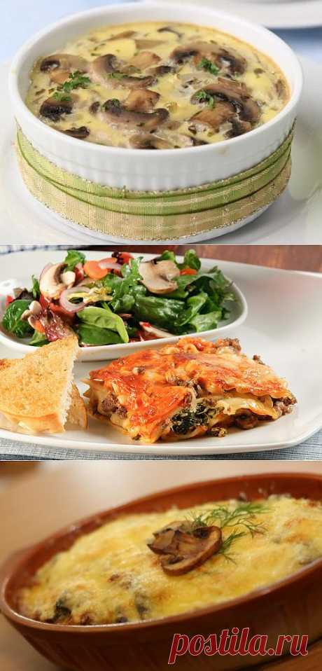 Mushroom baked puddings: the most tasty recipes \/ Simple recipes (selection)
