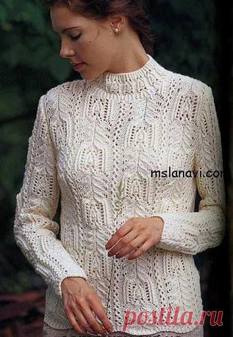 Белый вязаный пуловер | Золотые Руки