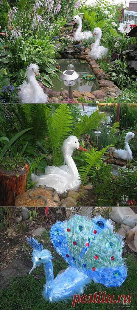Лебеди и павлины из пластиковой пленки от Светланы Антаковой.