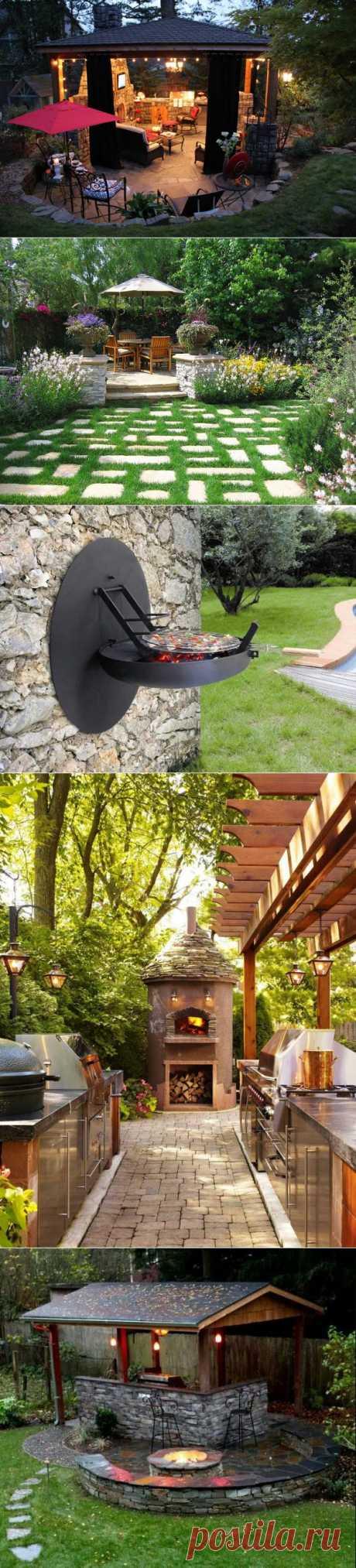 Летние кухни и зоны отдыха с барбекю, мангалом и грилем. Ландшафтный дизайн.
