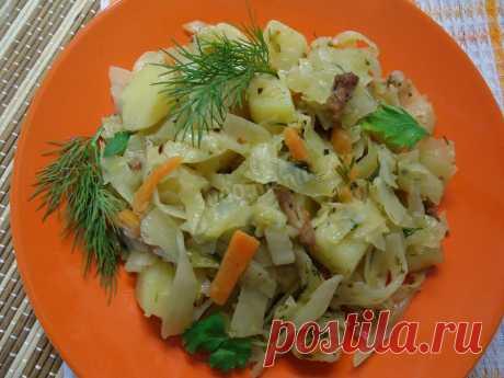 Тушёная капуста с картошкой в казане рецепт с фото - 1000.menu