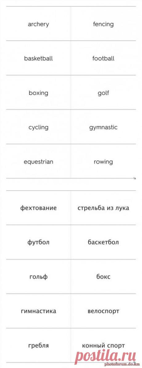 Виды спорта - карточки на английском языке - учим слова - Форум обучение с помощью интернета