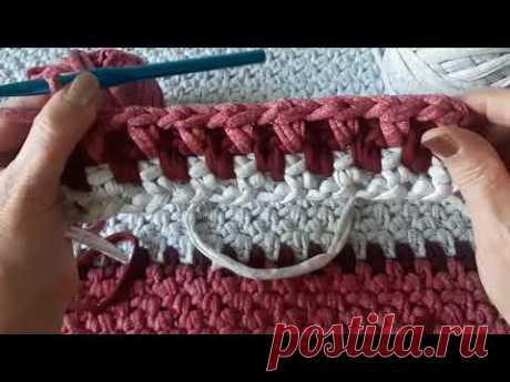Красивый коврик крючком из трикотажной пряжи