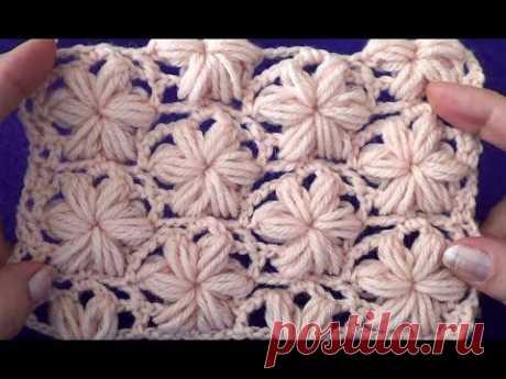 Узор Цветочки из пышных столбиков - YouTube